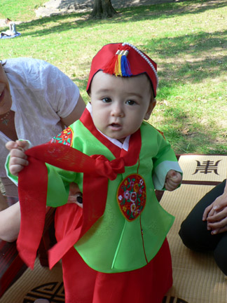 chiara in her first birthday hanbok